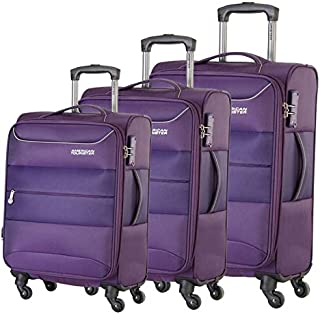American Tourister Luggage Trolley Bags For Unisex, 3 Pieces - Purple