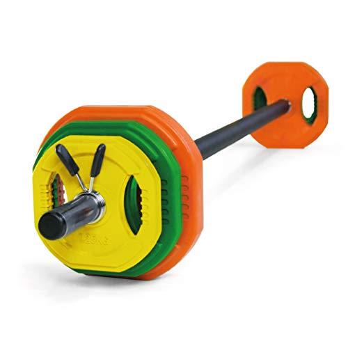 JOWY Juego Body Pump, Juego con Discos y Barra combinables hasta 17,5 kg, Ideal para la práctica de Ejercicios de Crossfit o musculación y finess. Tu casa es tu Gimnasio. ✅