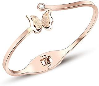 Yellow Chimes utterfly Stainless Steel Charm Bracelet for Women (Golden)(YCFJBR-283BTRF-RG)