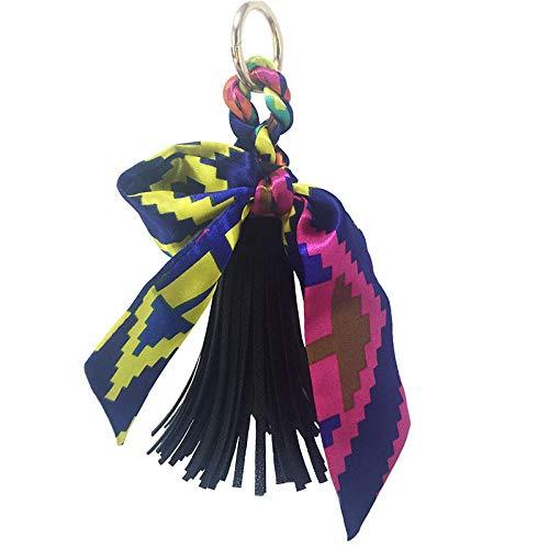 Sleutelhangers Voor Meisjesribbon Bow Pu Leather Fringe Keychain Pendant Groothandel Girls Bag Accessoires Kleur 6