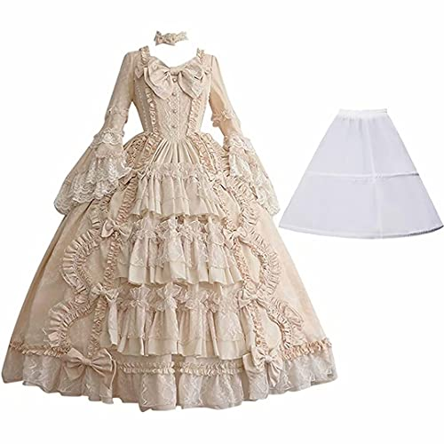Medieva Vestidos de Fiesta de Encaje renacentista Vestido de Traje Medieval renacentista para Mujer Vestidos temticos de Mascarada Vestido Largo hasta el Suelo de la Vendimia