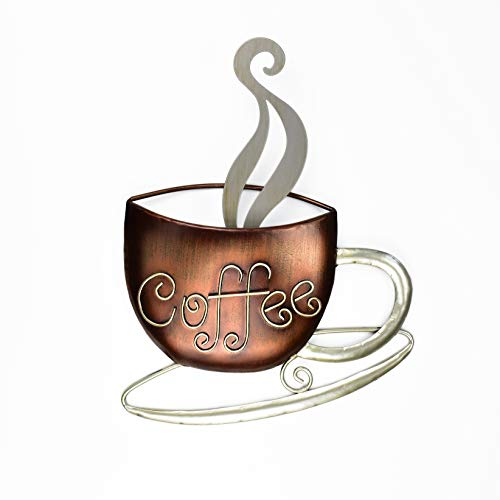 """Aayla Metal Coffee Cup Wall Hanging Sculpture, for Home Kitchen Restaurants and Coffee Shops, in Metal with Brown and Champagne Color (14.75""""H Coffee)"""