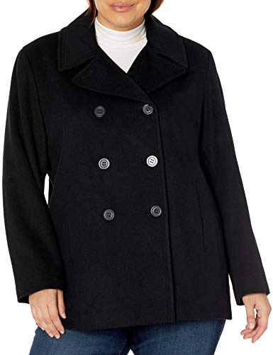 Calvin Klein Plus Sized Womens Double Breasted Peacoat, BLK, 2X