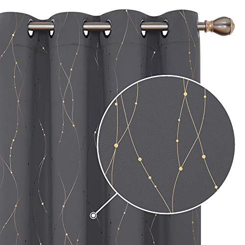 Deconovo Lot de 2 Rideaux Occultants Thermique Isolant Chambre Garcon avec Motif Dore Gris Foncé a Oeillets 140x245cm