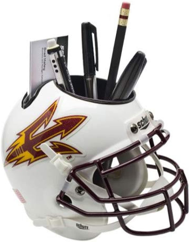 Arizona State Sun Devils (White) NCAA Football Schutt Mini Helmet Desk Caddy
