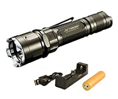 Uses the newest Cree XP-L LED, lifetime 50,000 hours Max output up to 1100 lumens with strobe option Specially built for the application of law enforcement, defense, military and hunting; Includes: Flashlight, 1x 18650 2600mAh, Aimkon MC2 Charger, 18...