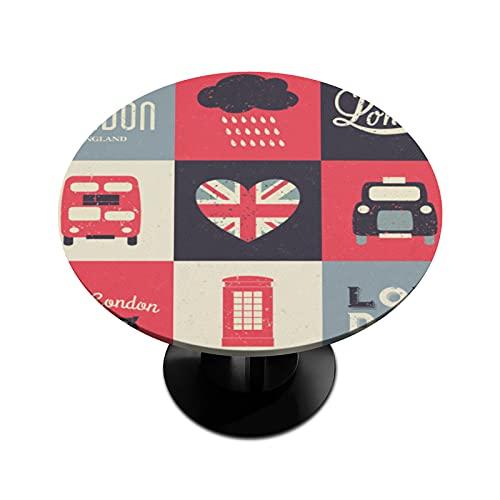 BOLOLI London - Mantel redondo con bordes elásticos, impermeable, para comedor, interior, exterior, patio, mesa de hasta 114 cm - 142 cm de diámetro