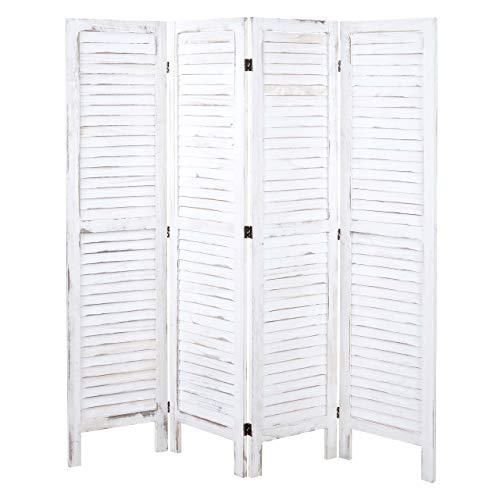 Mendler Paravent HWC-G30, Trennwand Sichtschutz Raumteiler, Shabby-Look 170x160cm ~ weiß