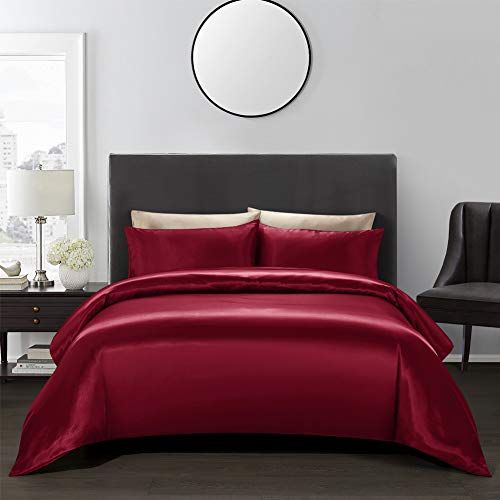 AiMay 3-teiliges Bettwäsche-Set (1 Bettdeckenbezug und 2 Kissenbezüge), Satin, Seide, luxuriös, 100% superweiche Mikrofaser, Bettwäschesammlung Queen weinrot