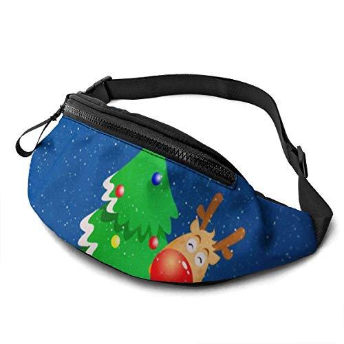 GOSMAO Riñonera Deportivo Bolso Cintura Cinturón Ajustable Running Belt Bolsa de Correr Alce de árbol de Navidad