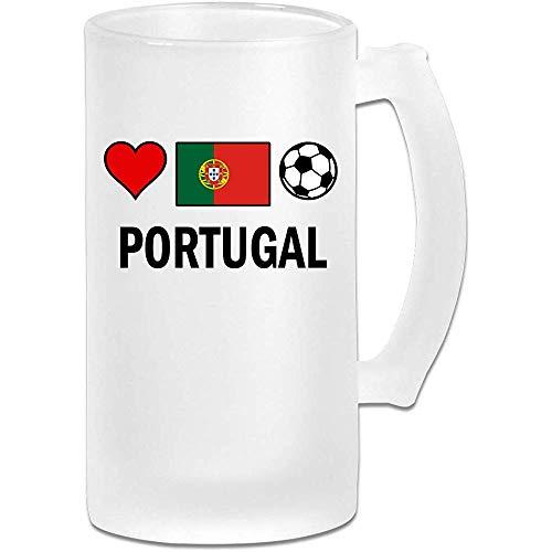 Portugal Voetbal Voetbal Frosted Glass Stein Beer Mok, Pub Mok, Drank Mok, Gift voor Bier Drinker, 500Ml (16.9Oz)
