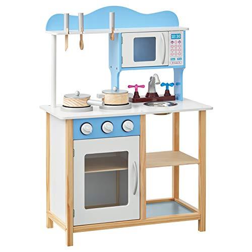 WOLTU Juego de Cocina Infantil de Madera con Accesorios, Mini Cocina Juegos de rol Infantiles para Niños, Incluye Juego de Cocina de 5 Piezas KKE001