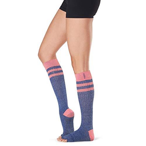 Toesox Damen Grip Pilates Barre Socks-Non Slip Scrunch Knee High Half Toe for Yoga & Ballet, Jazz, Größe S