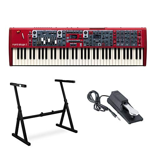 Nord Stage 3 Compact 73 Key Semi-Weighted Keyboard with Physical Drawbars Bundle includes Knox Z-Style Stand and Sustain Pedal