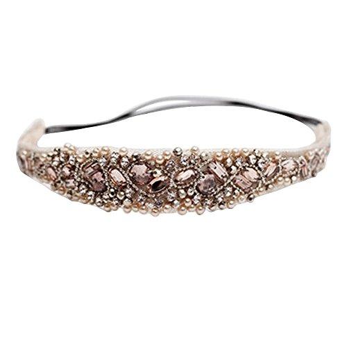 Tvoip Handmade Rhinestone Crystal Bohemia Stylish Crystal Beaded Elastic Fashion Headband (Pack of 1)