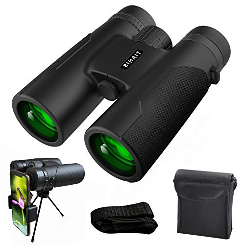 12x42 Binoculars for Adults with Smart Phone Adapter, Compact Hunting Binoculars with Clear Weak Light Vision, 18mm Large Eyepiece Binoculars for Bird Watching, Sports and Concerts with BAK4 FMC Lens