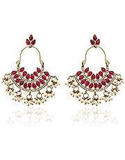 Zaveri Pearls Pearl Ruby Dangle & Drop Earrings For Women - ZPFK1194