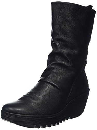 FLY London Womens Yada Wedge Heel Leather Black Mousse Mid Calf Boots - Mousse Black - 9
