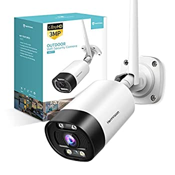 HeimVision 2K Outdoor Security Camera Wi-Fi Smart Camera with Floodlight Color Night Vision 2-Way Audio Motion Detection Siren Alarm Message Alert SD Slot & Cloud Storage Weatherproof HM311