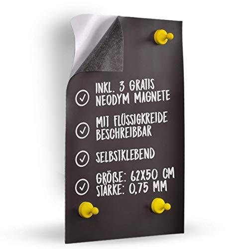Neu 0,75mm!! Eisenfolie - Ferrofolie 500mm x 620mm x 0,75mm selbstklebend - Inkl. 3 Gratis Neodym-Magnete - Noch mehr Haftgrund für Magnete - Magnetfolie - Magnettafel