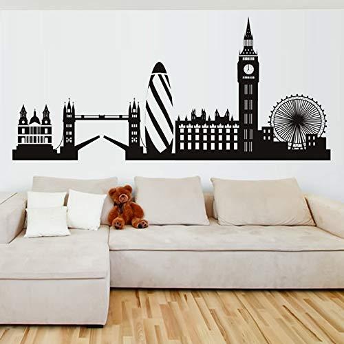Blrpbc Pegatina de Pared Silueta de la Ciudad del Horizonte de Londres Inglaterra Londres Scape Sala de Estar Dormitorio Oficina Hogar Arte de la Pared Mural de Vinilo 91x44cm