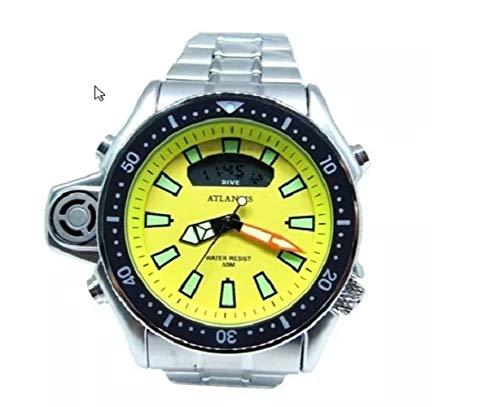 Relogio Aqualand Original Atlantis pulseira em aço fundo amarelo