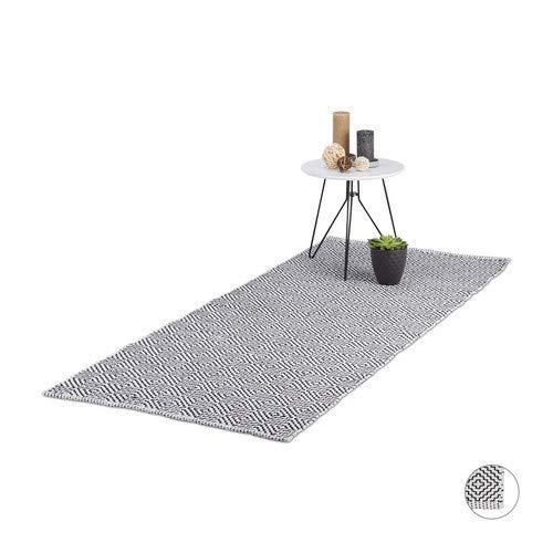 Relaxdays Tapijtloper, vloerkleed 100% katoen, antislip, handgemaakt woonkamertapijt, 80x200 cm, zwart-wit, 80x200cm