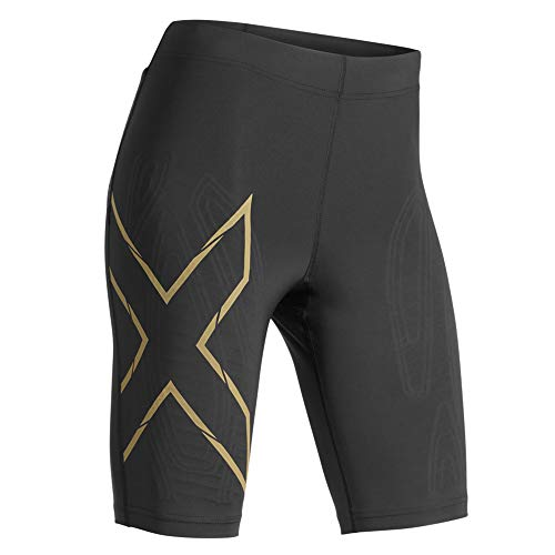 2XU MCS Run Compression Shorts Black/Gold Reflective XS