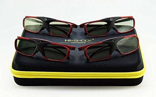 4X Hi-SHOCK BT Pro Scarlet Heaven aktive 3D Brille für 3D TV von Sony, Samsung, Panasonic   komp. mit SSG-3570CR, TDG-BT500A, TY-ER3D5ME 120 Hz