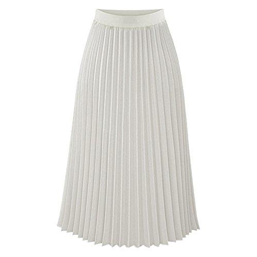 TEERFU Womens Ladies Summer Flared Pleated Skirt A-line Midi Skirts White Large