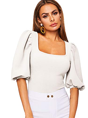 Romwe Women's Casual Puff Sleeve Square Neck Slim Fit Crop Tee Tops White US 12/X-Large
