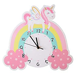 Unicorn Wall Clock,Cute Kids Learning Clock,Silent Wall Clock with Battery Operated for Bedroom Playroom Living Room,Cartoon Analog Clock for Teaching Homeschool Supplies Kids Room Wall Decor