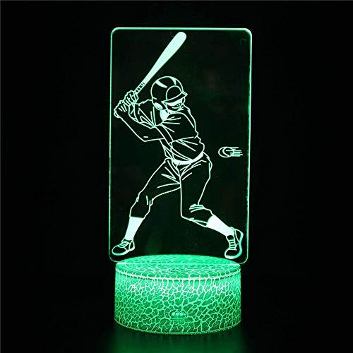 Luz nocturna 3D, jugador de béisbol B regalo de Navidad lámparas de cabecera para niños, 16 colores, cambio automático, interruptor táctil con control remoto para regalos