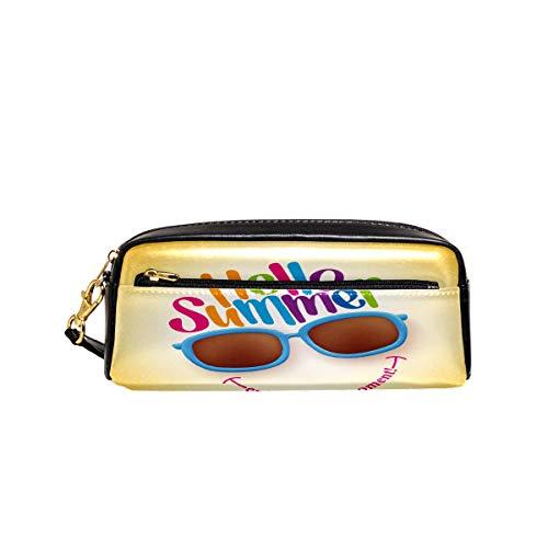 Federmäppchen Hello Summer Cartoon Emoticon Brille Smile Pen Box PU Leder Tasche Tasche Schule Schreibwaren Supplies Reise Kosmetik Make-up Tasche