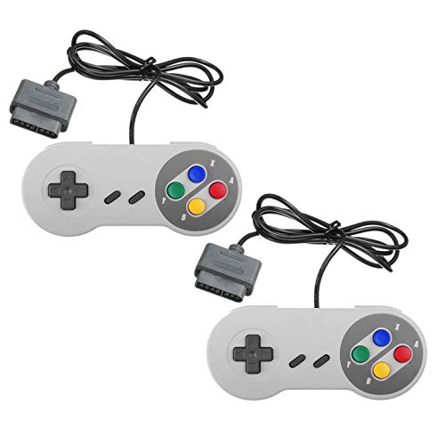 TRIXES 2 Stück Retro SNES Kompatible Ersatz Controller Gamepad Joystick Super Nintendo Entertainment System