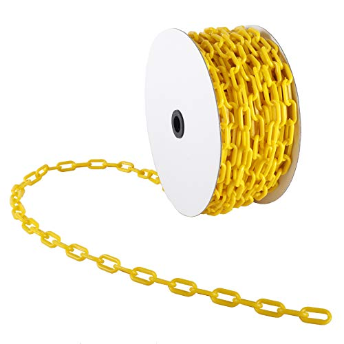 AuInn 98 FT Safety Barrier Chain,Yellow Plastic Chain Links for Crowd Control Industrial Purposes, High-Visibility (30 M 6 MM Thickness)