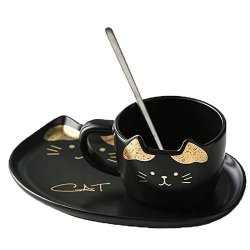 Zodensot Juego de tazas de café de cerámica con diseño de gato con bandeja creativa, taza de leche para desayuno, color negro