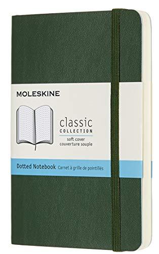 Moleskine - Cuaderno Clásico con Páginas Puntinada, Tapa Blanda y Goma Elástica, Verde (Myrtle Green), Tamaño Bolsillo, 192 Páginas