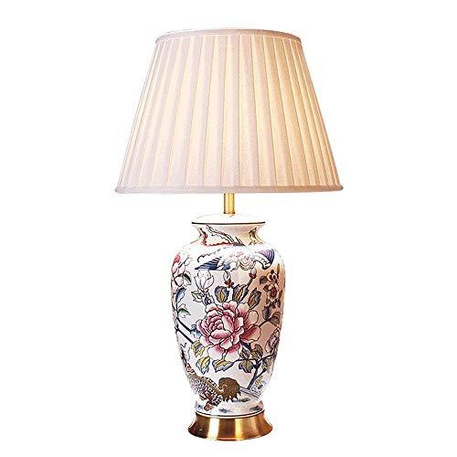 LYYJIAJU Globale keramische tafellamp, plissé lampenkap, bloemen-vogel-design, warme romantische bruiloft woonkamer nachtverlichting