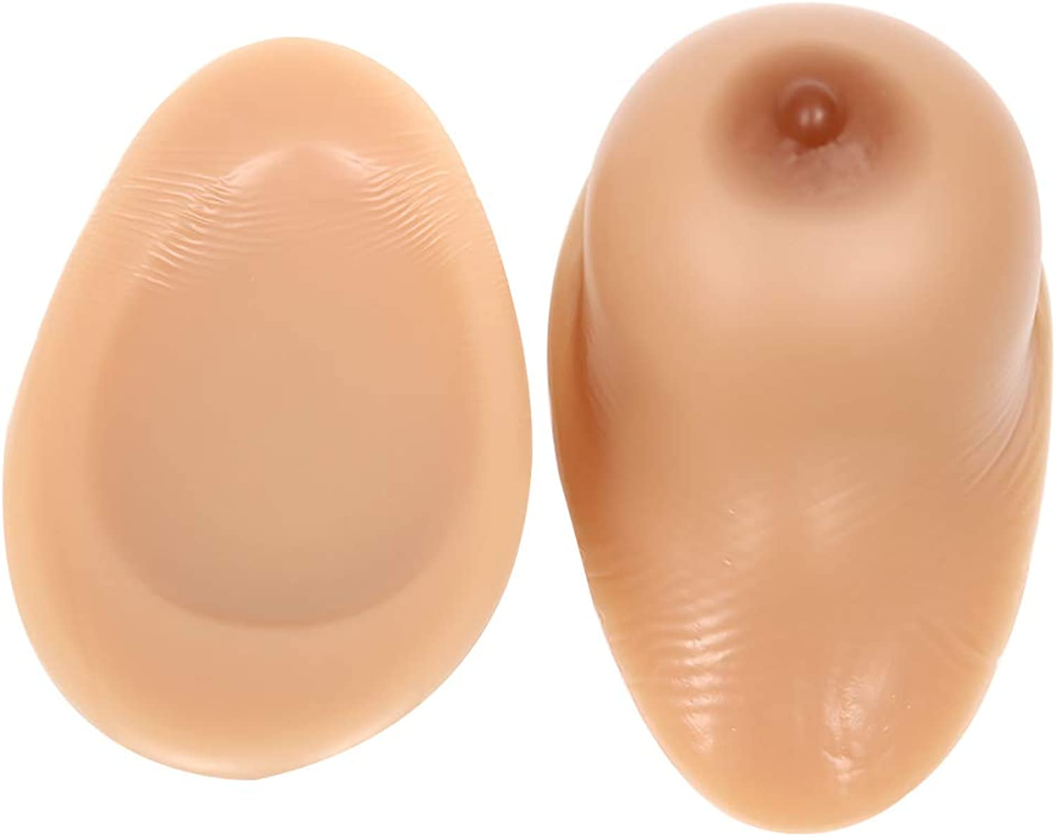 Round Silicone Breast Breast Prosthesis Fake Chest Full Boob Touch Feeling Like Real Human Breasts Used,BrownNonStickM 1.3Lb Pair