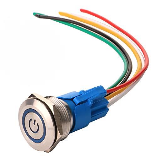 Gebildet 22mm Enclavamiento Pulsador de Botón Metálico Interruptores Acero Inoxidable Impermeable Plana Top ON/Off 12V-24V 5A Pulsador con Enchufe de Cable(LED Azul)