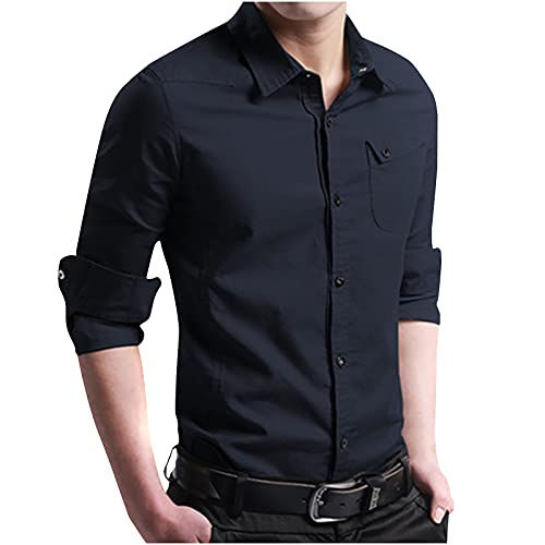 2021 Hombre Camiseta de Manga Larga,Color sólido Camisa Moda Casual Diario básica Camiseta Slim Fit cuello en v Shirt Camisas Sudadera Chaqueta Talla grande Top Jersey tee Blusa de yoga de playa