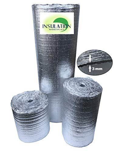 SmartSHIELD -3mm 48'x50Ft Reflective Insulation roll, Foam Core Radiant Barrier, Thermal Insulation Shield, Commercial Grade (48'x50')