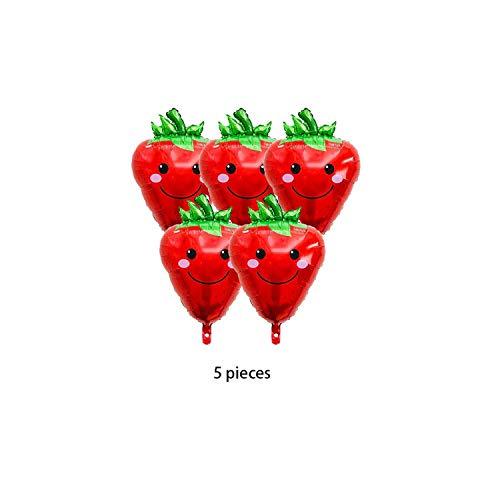 Glückwunsch Ballon |Fruchtballons Gemüse Heliumfolie Ballon Geburtstagsfeier Dekorationen Kinder Erdbeer Karotte Orange Traube Bananen Mais Apfel-Erdbeere 5 Stück-