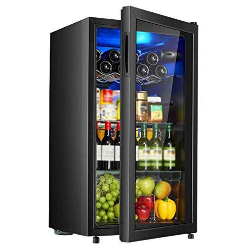 yunyun 88L Beverage Frigorifero E Raffreddamento Bere Frigorifero,con Display LCD Cantinetta Vino Minibar for Bevande Raffreddamento/Piccolo Vino Refrigerato Ghiacciato + Refrigerati