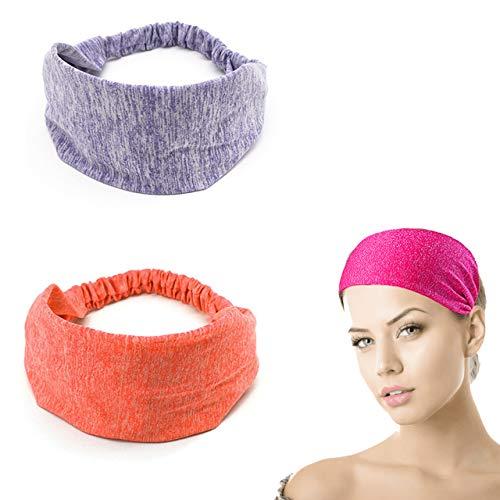 Cinta para el pelo para mujer, fina, elegante, vintage, para verano, yoga, ancha, suave (morado y naranja)