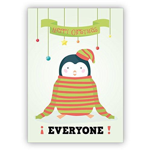 5 stuks kerstkaarten met envelop set: schattige kerstgroet met pinguïn in grote trui : Merry Christmas Everyone - mooie kerst felicitatie ook voor nieuwjaar