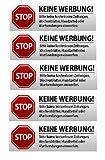 5 x Keine Werbung Aufkleber - Schild – Folie - Sticker (Stop Bitte Keine Kostenlose Zeitung, Reklame, Flyer, Handzettel, Wurfsendungen, Wochenblätter, Werbung) für den Briefkasten - 5 Stück