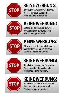 Keine Werbung Aufkleber - Schild – Folie - Sticker (Stop Bitte Keine Kostenlose Zeitung, Reklame, Flyer, Handzettel, Wurfsendungen, Wochenblätter, Werbung) für den Briefkasten - 5 Stück