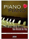Piano Piano clásica 1Peso Medio–100mejores melodías de hasta Pop–para Piano mittelschwer Arreglados–Ordenador libro con Bunter herzförmiger Ordenador Pinza